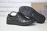 Мужские повседневные туфли кэжуал натуральная кожа черные Vaslav, фото 3