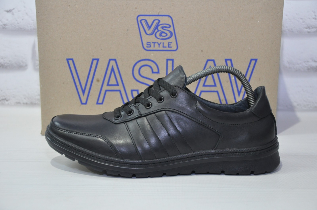 Мужские повседневные туфли кэжуал натуральная кожа черные Vaslav