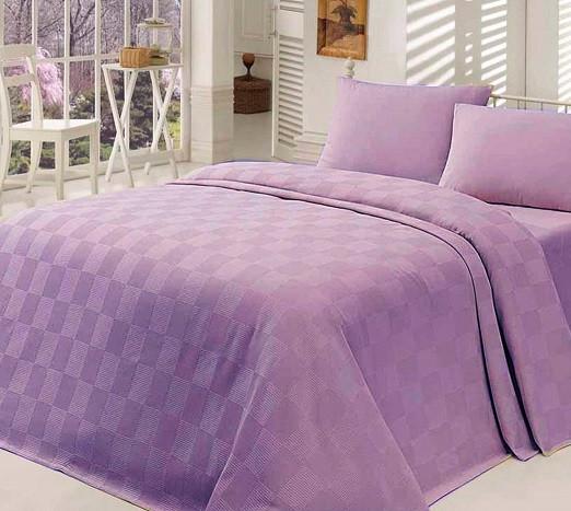 Сиреневое покрывало на кровать из хлопка  200х240 см, Турция
