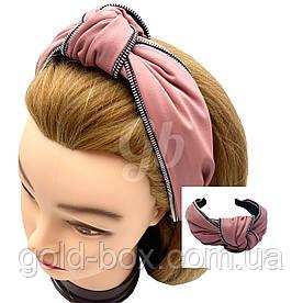 Обідок чалма для волосся еко-шкіра рожева