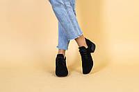Туфли женские замшевые черные на небольшом каблуке на шнурках квадратный носок
