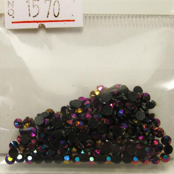 Камни Стразы для Ногтей Акриловые Черные с Розово-Фиолетовым Отливом в Наборе, размер 3 мм, Дизайн Ногтей