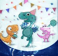 Салфетки бумажные двухслойные детские  Динозавры 15 штук