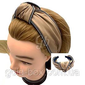 Обідок чалма для волосся еко-шкіра бежева