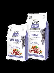 Сухой корм Brit Care Cat GF Sterilized Weight Control для стерилизованных котов/контроль веса (утка/индейка)