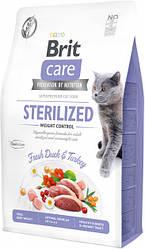 Сухой корм Brit Care Cat GF Sterilized Weight Control для стерилизованных котов/контроль веса (утка/индейка) 7 кг