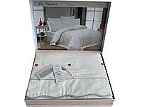 Комплект постельного белья Maison D'or Les Coeurs Ecru Red сатин 220-200 см кремовый