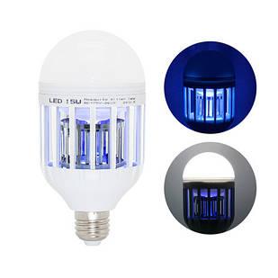 Лампа светодиодная ловушка для уничтожения комаров насекомых 15Вт, Е27