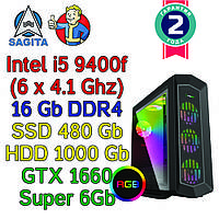Игровой компьютер intel i5-9400F (6 x 4.1GHz) + 16Gb DDR4 + SSD 4800Gb + 1Tb + GTX 1660 Super 6Gb
