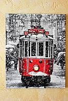 Картина акрилом Трамвай 40х50см покрыта глянцевым лаком Ручная работа