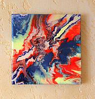 Картина жидким акрилом Настроение 20х20см покрыта эпоксидным клеем Ручная работа