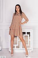 Легкое софтовое нежное принтованное платье свободного кроя на пуговицах с воротником Р-р: S, M, L арт. 14162