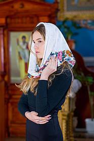 Платок на голову в церковь женский красивый хлопковый LEONORA  белый с окантовкой розами