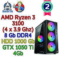 Игровой компьютер AMD Ryzen 3100 + 8Gb + 1Tb + GTX 1050 Ti 4Gb