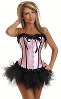 Розовый корсет с черными рюшами, фото 1