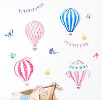 """Декоративные наклейки для детского сада, наклейка в детскую """"воздушные шары акварель"""" 94*108см (лист50*70см)"""