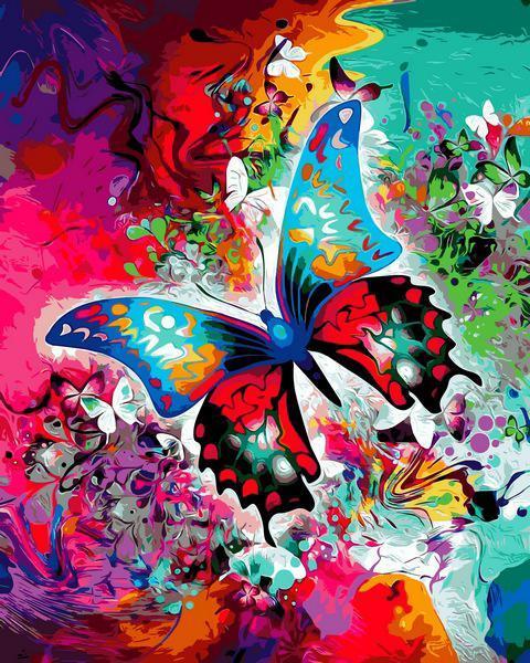 Картина по номерам рисование Babylon VP1314 Бабочка в красках 40х50см набор для росписи по цифрам в коробке