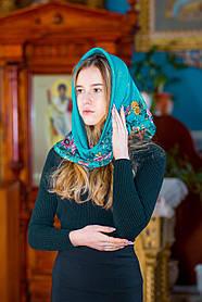 Платок женский в церковь православный LEONORA  бирюзовый с окантовкой розами