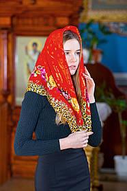Церковный платок на голову хлопковый LEONORA  красный с окантовкой розами