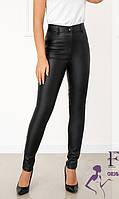 Шкіряні жіночи штани з кишенями утеплені флісом 030 В/01, фото 1