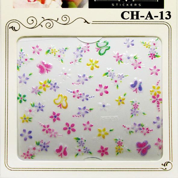 Наклейки для Нігтів Самоклеючі 3D Nail Sticrer CHA 13 Квіти Метелики Різних Кольорів Слайдер Дизайн