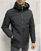 Повседневная мужская куртка черная большого размера с капюшоном, легкая ветровка на молнии весна осень Турция