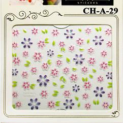Наклейки для Ногтей Самоклеющиеся 3D Nail Sticrer CHA 29, Цветы Розовые, Фиолетовые, Зеленые Слайдер Дизайн