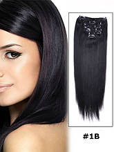 Натуральні волосся Remy на кліпсах 60 см відтінок #1В 120 грам