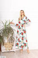 Легкое летящее софтовое платье в пол с принтом вверх на запах   Размер: 42-44, 46-48  арт. р15298