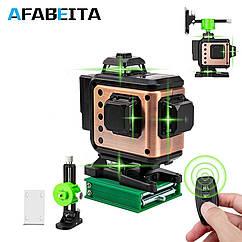 4D Лазерный уровень AFABEITA 4D 16 линий для стяжки пола, плитки ➜ ПУЛЬТ ➜ Кронштейн ➜ Зеленые лучи