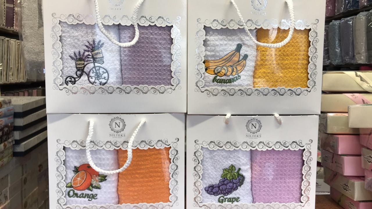 Набір кухонних махрових рушників 40 на 60 подарунковій коробці 2 штуки Туреччина Nilteks