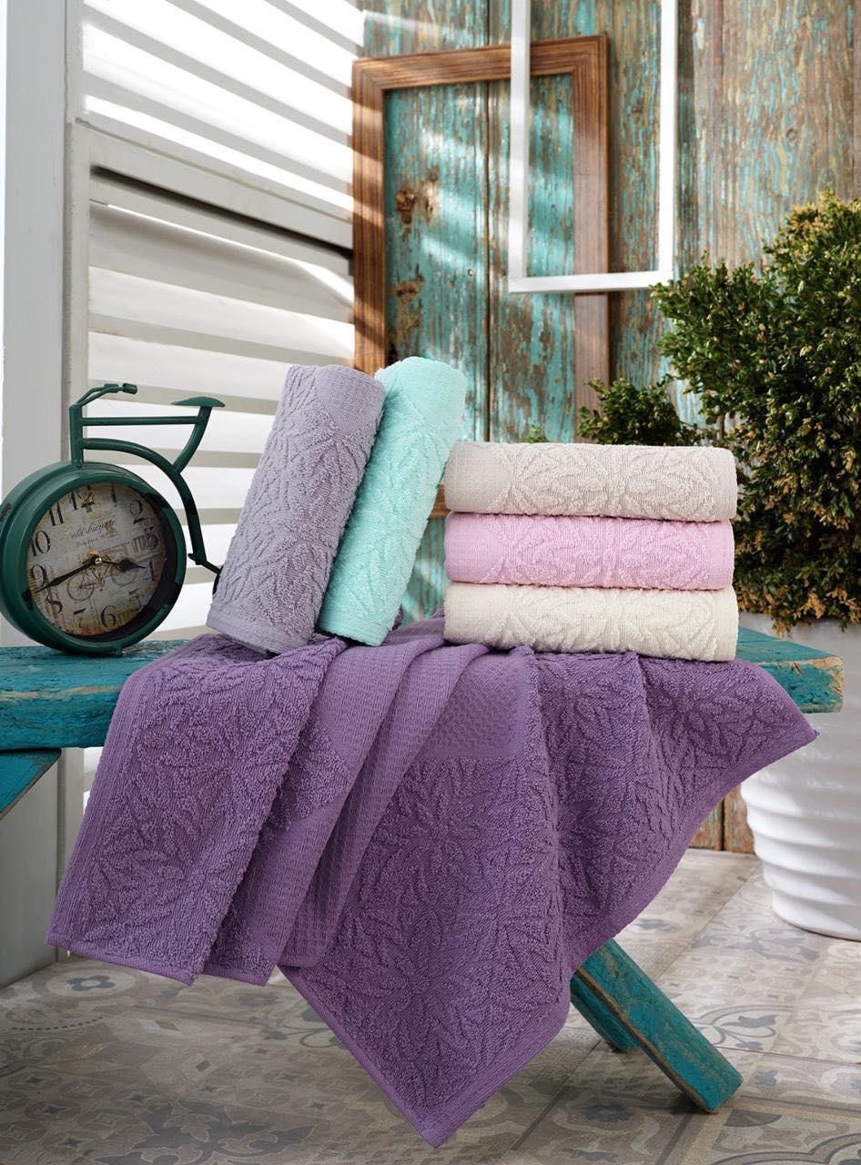 Жаккардовые полотенца для сауны пляжа в упаковке 6 штук 100 на 150 см Турция  Gulcan