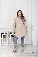Женская куртка короткая бежевого цвета 1266