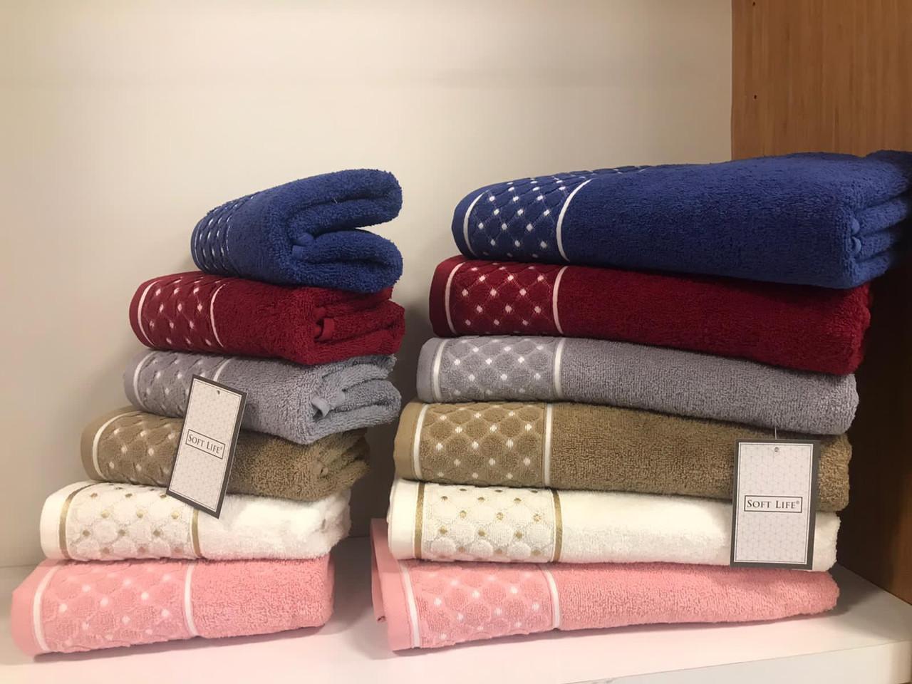 Махровые полотенца для бани в упаковке 6 штук 70 на 140 см Турция Soft Life
