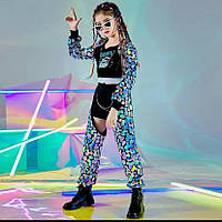 Детский крутой костюм (унисекс),детский костюм для танцев Хип-хоп; джаз-фанк;R&B, одежда для танцев