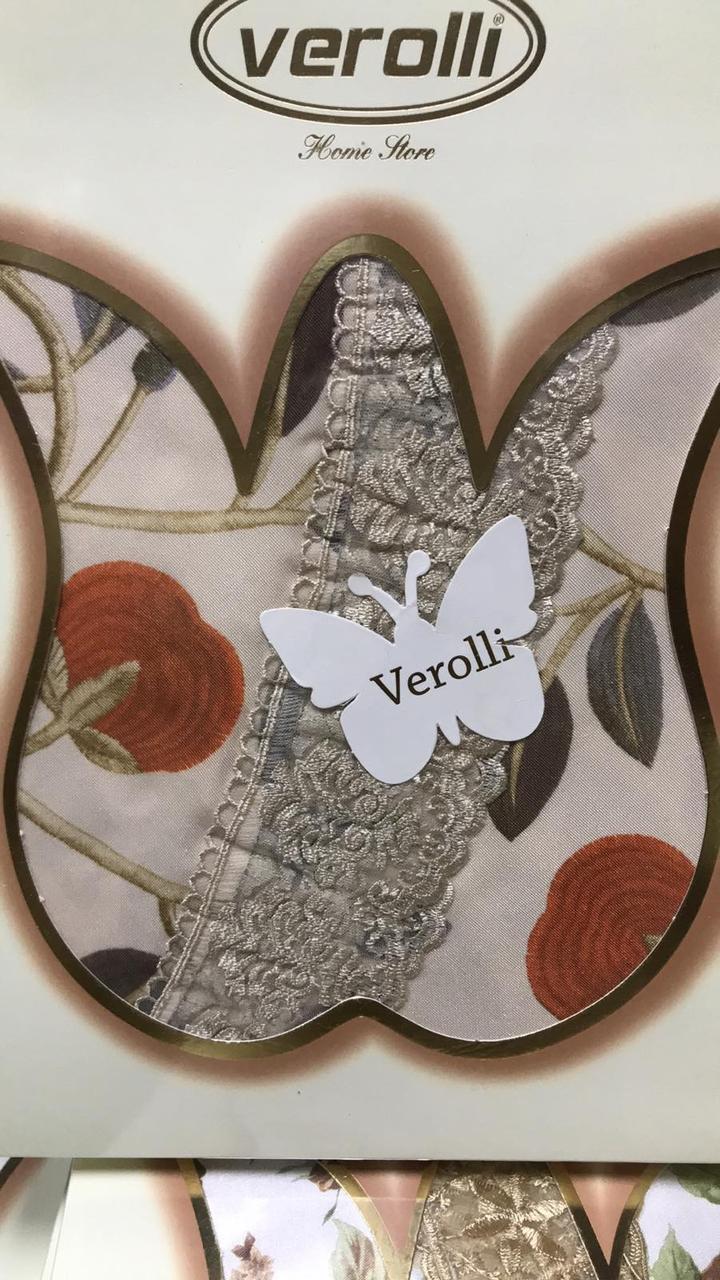Скатерть тефлоновая на круглый стол 160см водоотталкивающая с кружевом Турция Verolli в расцветках