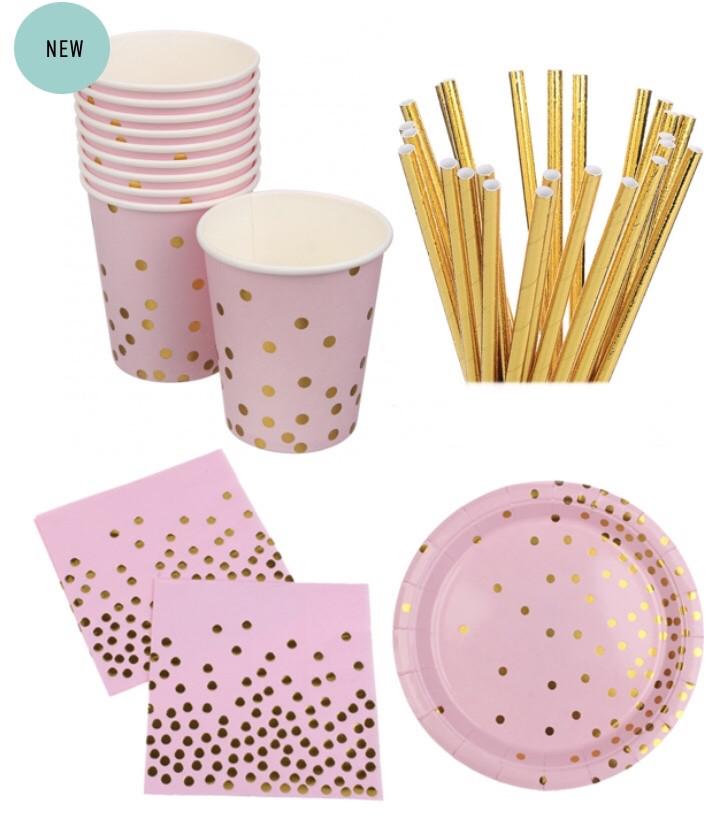 """Набір паперової посуду - тарілочки великі, стаканчики,трубочки і серветки """"Blush confetti"""" (40 шт.)"""
