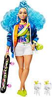 Кукла Барби Экстра Модница со скейтбордом c синими волосами Barbie Extra Doll