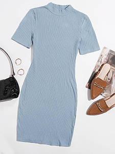 Стильное трикотажное платье с воротником-стойкой 42-46 р