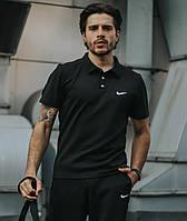 Мужское поло Nike черное, стильная футболка с воротником, трикотаж, реплика