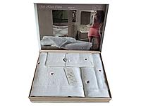 Набор полотенец Maison D'or Soft Hearts White-Red махровые 30-50 см,50-100 см,85-150 см белые, фото 1