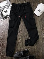 Брюки мужские джоггеры весенние осенние Joggers черные | Штаны мужские демисезонные коттоновые ЛЮКС качества
