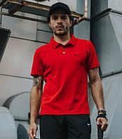 Мужское поло Nike, стильная красная футболка с воротником, трикотаж, реплика