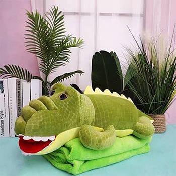 Іграшка плед трансформер 3 в 1 KOLOCO мікрофібра (9527-3) Крокодил з лушпинням
