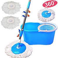 Швабра-лентяйка с турбо отжимом и ведром Spin MOP 360° с круглой насадкой, фото 1