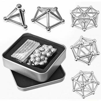 Магнитный конструктор Neo 36 магнитных палочек и 28 стальных шариков Серебристый