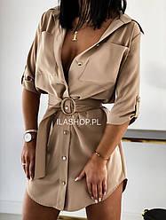 Женское платье-рубашка с большими карманами