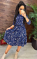 Платье женское в цветок Летнее платье миди синего цвета в цветочек Повседневное платье миди