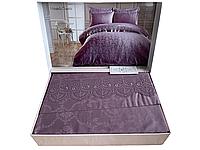 Комплект постельного белья Maison D'or Mirabella Dantela Lilac жакардовый 220-200 см фиолетовый