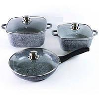 Набор кухонной посуды 2 квадратные кастрюли и сковорода Benson BN-326 PR5